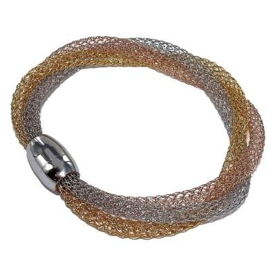 Bracelet aimanté acier inoxydable trois tons, Mya