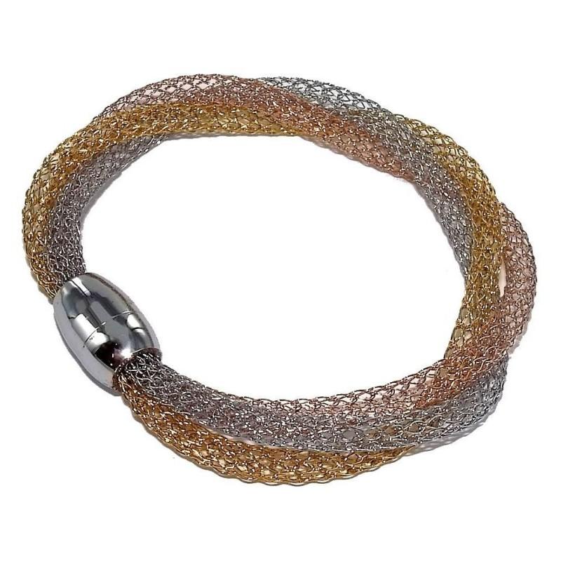Bracelet magnétique, acier 3 tons pour femme - Mya - Lyn&Or Bijoux