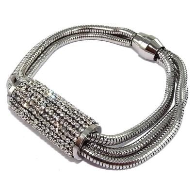 Bracelet aimanté acier inoxydable et cristal, Grandiosa