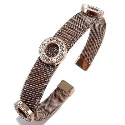 Bracelet jonc en acier rose et strass - Bella