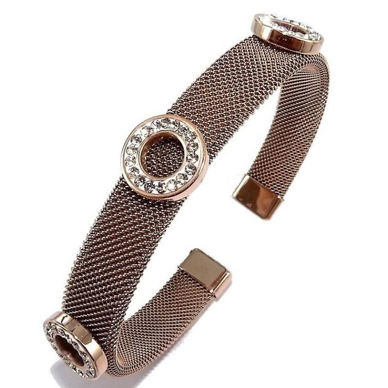 Bracelet jonc acier rose et strass pour femme, Bella