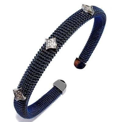 Bracelet jonc acier bleu et strass pour femme, Bella