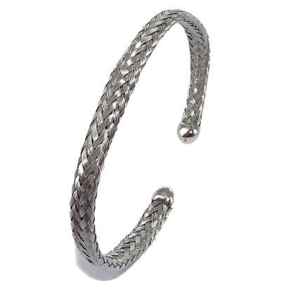 Bracelet jonc fin en acier tressé pour femme - Nyva - Lyn&Or Bijoux