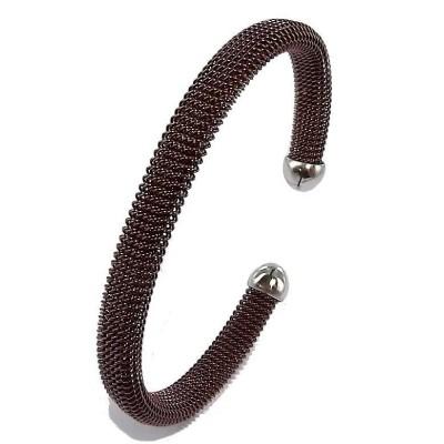 Bracelet jonc acier marron pour femme, Chocolat