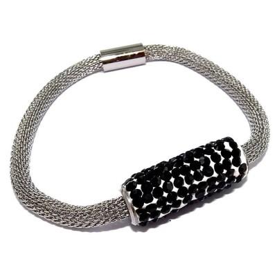 Bracelet aimanté en acier et strass noir - Gryda