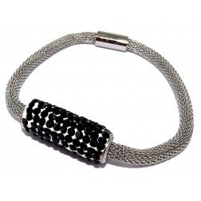 Bracelet aimanté en acier et Cristal noir pour femme - Gryda - Lyn&Or Bijoux