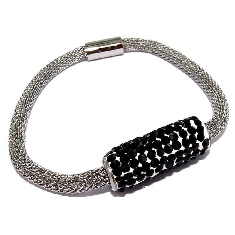 Bracelet aimanté acier inoxydable et cristal noir, Gryda