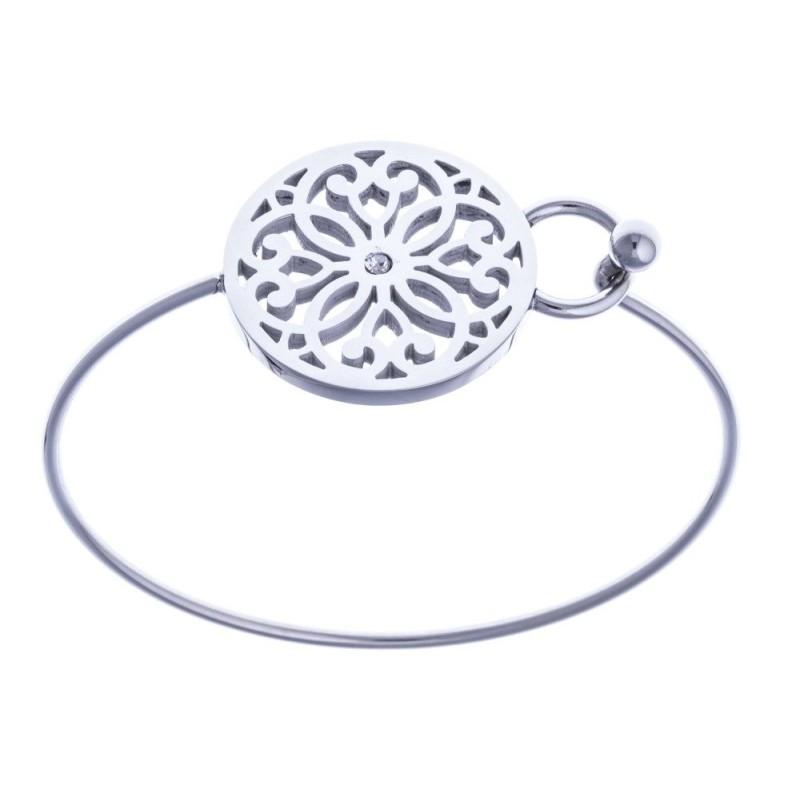 bracelet fin rigide en acier, avec décor fleur et cristal - Bijoux Femme