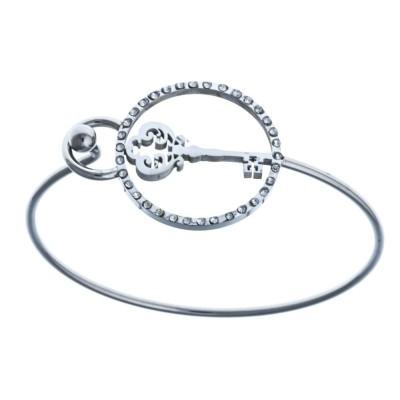 Bracelet jonc et médaillon clé en acier pour femme - Key - Lyn&Or Bijoux