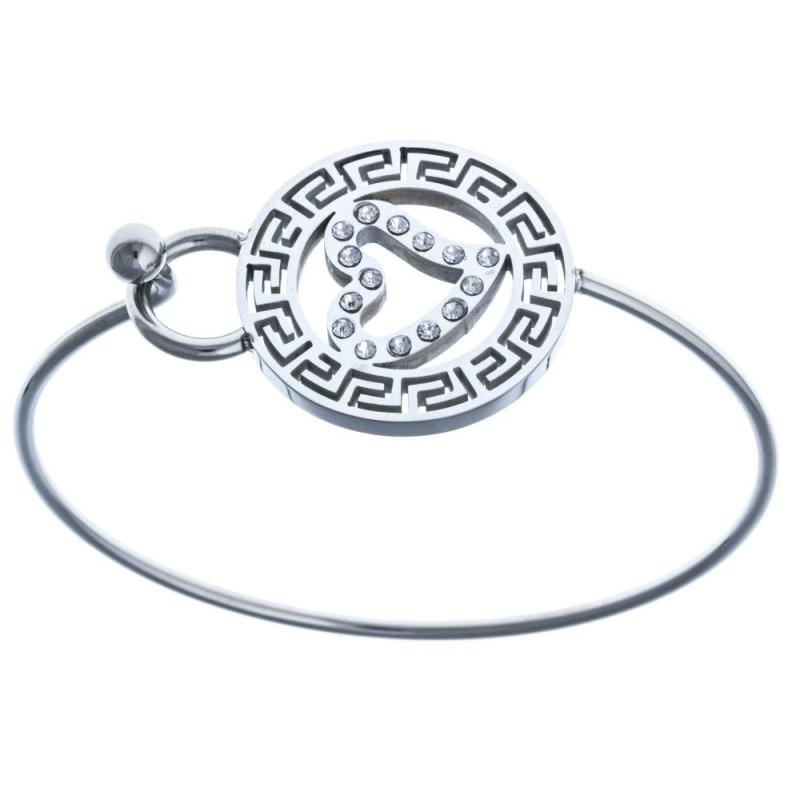 Bracelet jonc avec coeur en acier et Cristal pour femme - Inca - Lyn&Or Bijoux