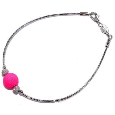 Bracelet boule en cristal rose, argent rhodié pour femme - Swap - Lyn&Or Bijoux