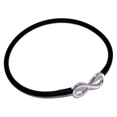Bracelet silicone noir et argent rhodié - Infini