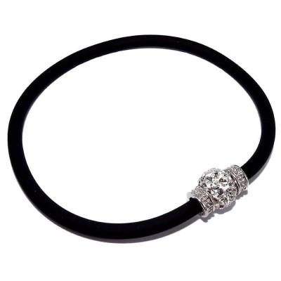 Bracelet silicone noir et argent rhodié pour femme, Brillo