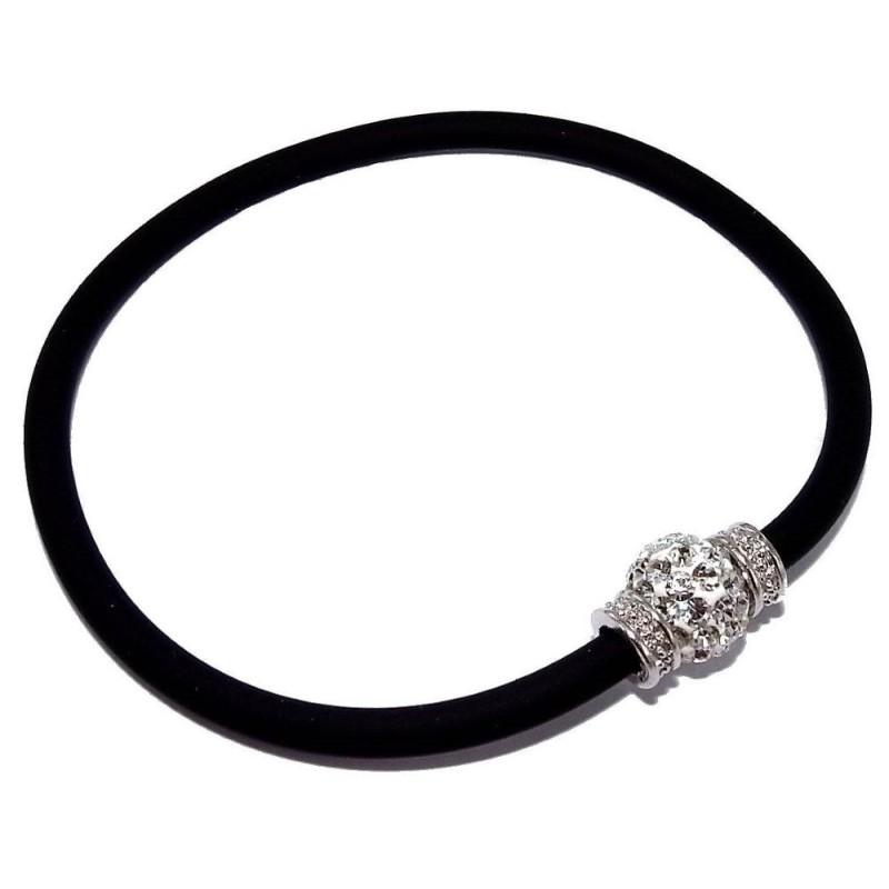 Bracelet silicone noir, cristal, argent pour femme - Brillo - Lyn&Or Bijoux