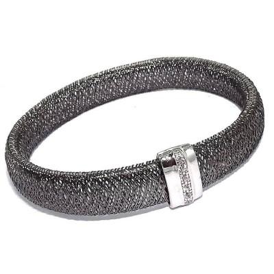 Bracelet extensible en argent rhodié et cristal - Bonheur