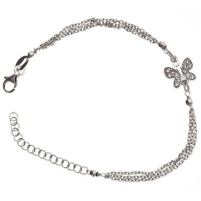Bracelet papillon en argent 925 rhodié pour femme, Misty