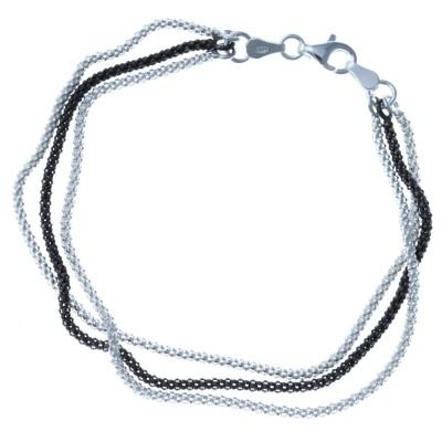 Bracelet en argent rhodié deux tons pour femme - Faveurs - Lyn&Or Bijoux