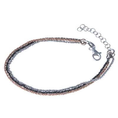Bracelet en argent rhodié trois tons - Joy