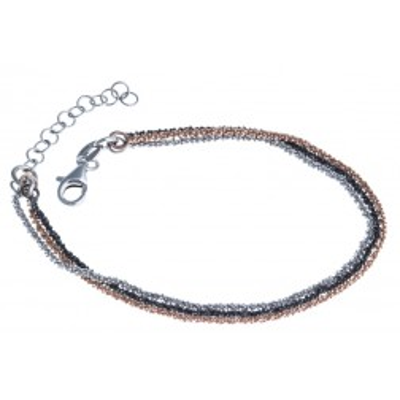 Bracelet en argent rhodié trois tons pour femme - Joy - Lyn&Or Bijoux
