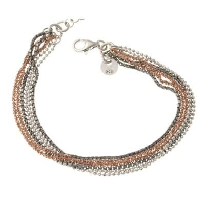Bracelet argent rhodié trois tons et 6 fils pour femme - Lumimax