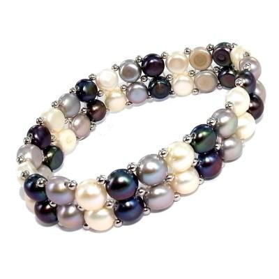 Bracelet de perles véritables deux rangs - Elya