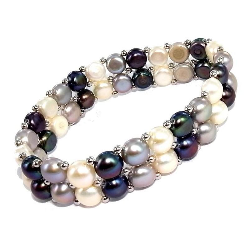 Gourmette de perles véritables deux rangs pour femme, Elya
