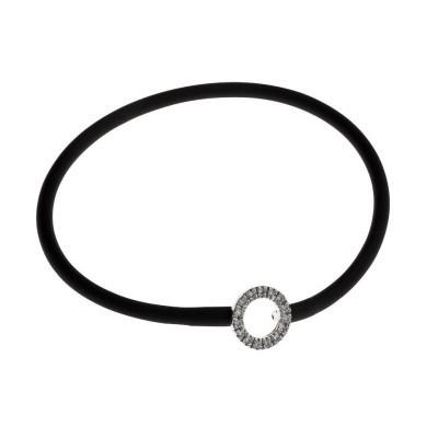 Bracelet silicone noir et en argent 925 rhodié pour femme, Cercle