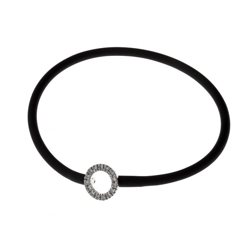 Bracelet silicone noir et argent rhodié pour femme - Cercle - Lyn&Or Bijoux