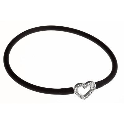 Bracelet silicone noir et en argent 925 rhodié pour femme, coeur