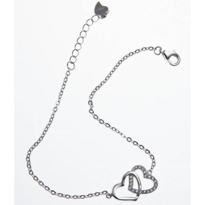 Bracelet en argent rhodié et zirconia - Double cœurs