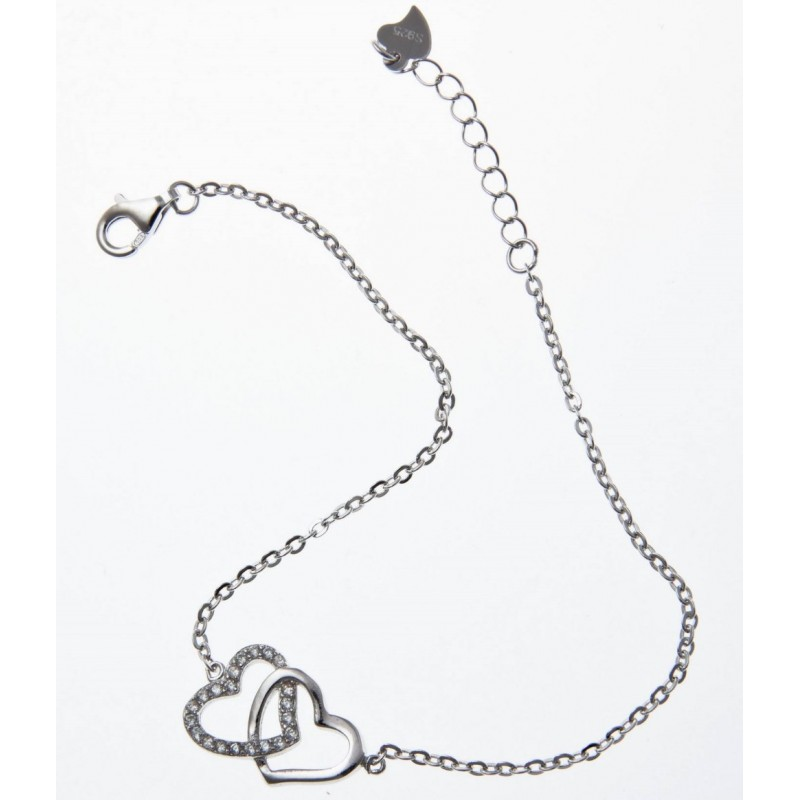 bracelet coeur en argent rhodi et zircone pour femme. Black Bedroom Furniture Sets. Home Design Ideas