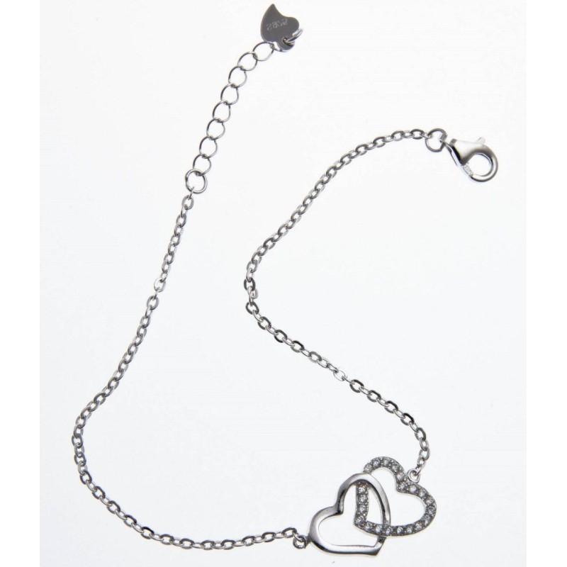bracelet argent double coeur