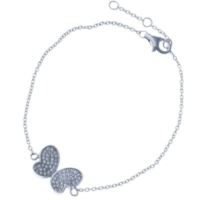 Bracelet en argent rhodié et zirconia - Papillon