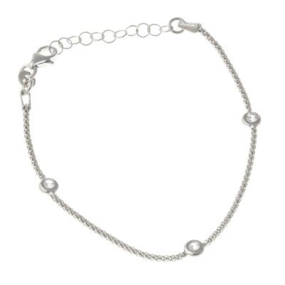 Bracelet en argent rhodié et zirconia pour femme - Pica - Lyn&Or Bijoux
