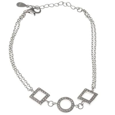 Bracelet en argent rhodié et oxyde de zirconium pour femme, Géoka
