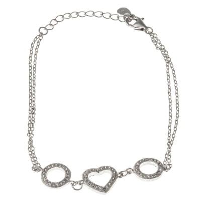 Bracelet coeur argent 925 et zirconia pour femme - Eureka - Lyn&Or Bijoux