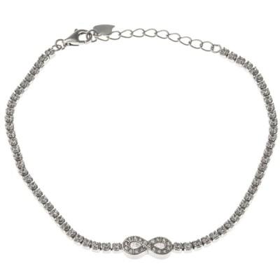 Bracelet Infini argent 925 rhodié et zirconia - Eclat