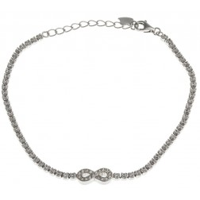 Bracelet Infini argent 925 rhodié et oxyde de zirconium pour femme, Eclat