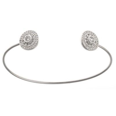 Bracelet jonc argent 925 rhodié et oxyde de zirconium pour femme - Tikky