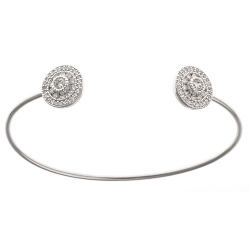 Bracelet ouvert pour femme, jonc en argent rhodié et zirconium