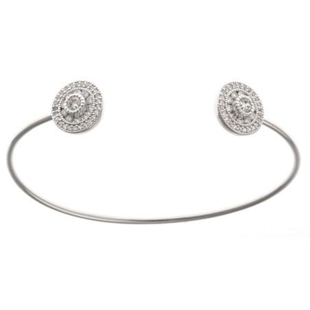 Bracelet jonc en argent rhodié et zirconia - Tikky