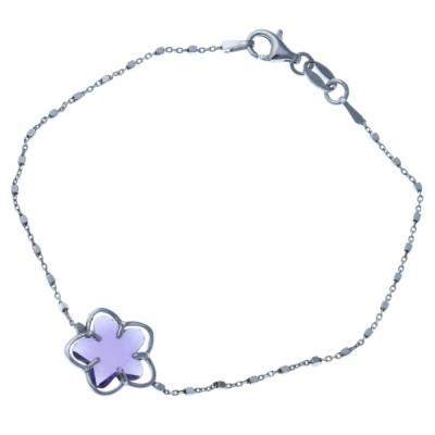 Gourmette fleur en argent rhodié et Swarovski violet femme, Flip
