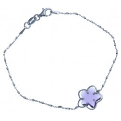 Bracelet fleur en argent rhodié et Swarovski violet - Flip