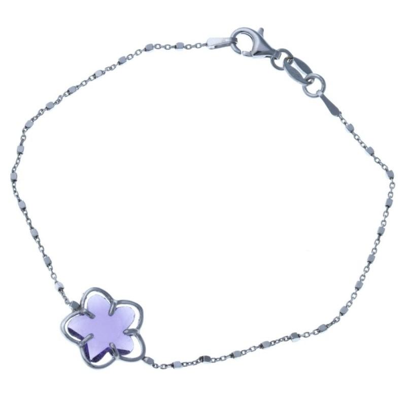Bracelet fleur argent et Swarovski violet pour femme - Flip - Lyn&Or Bijoux