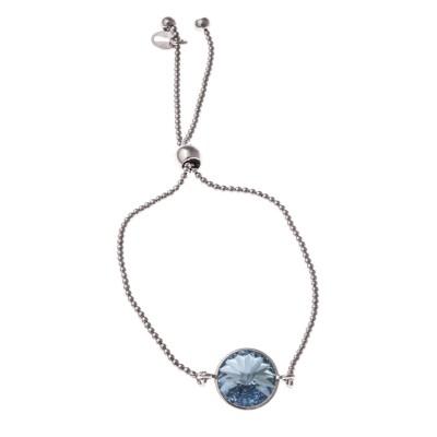 Gourmette argent rhodié et Swarovski bleu pour femme - Marina