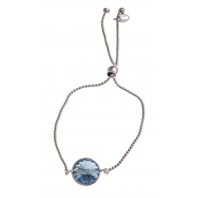 Bracelet en argent rhodié et Swarovski bleu - Marina