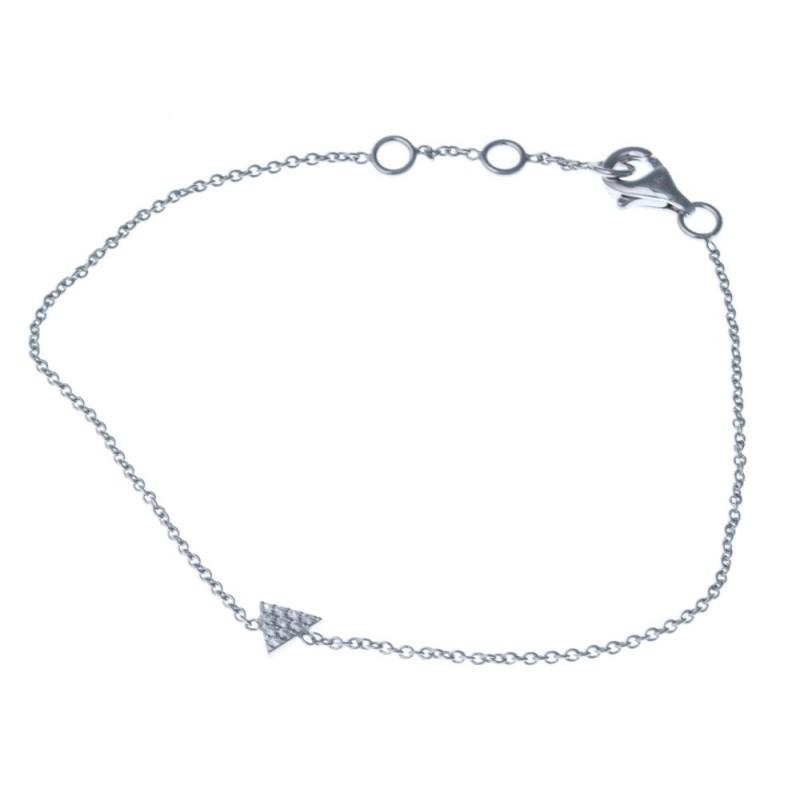 Bracelet argent rhodié et triangle zircon pour femme - Tryana - Lyn&Or Bijoux