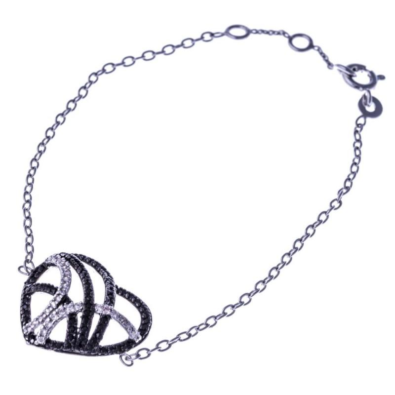 Bracelet coeur argent rhodié et oxyde de zirconium noir et blanc pour femme - Ciana