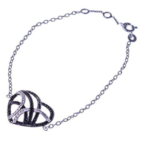 Bracelet coeur argent et zircone noir et blanc - Ciana