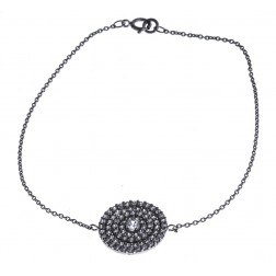 Bracelet argent rhodié et zirconia - Piana